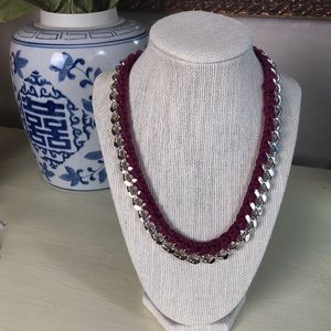 Jewelry - NWT New Silver and Burgundy Cord Necklace